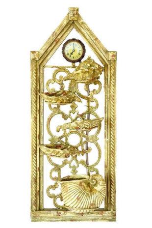 Dekorační zlatá nástěnna fontána s hodinami
