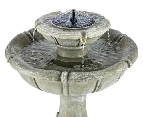 Dvoupatrová solární zahradní fontána