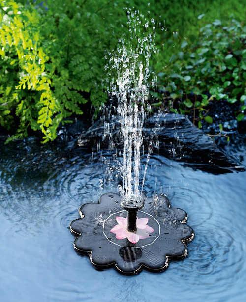 Malá solární fontána do jezírka či bazénu Leknín