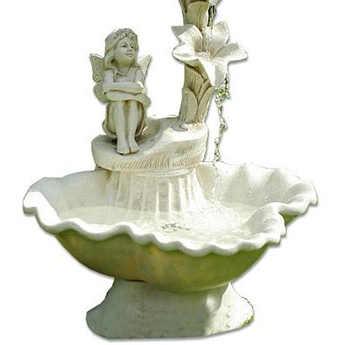 Romantické kašna na zahradu z bílého umělého kamene