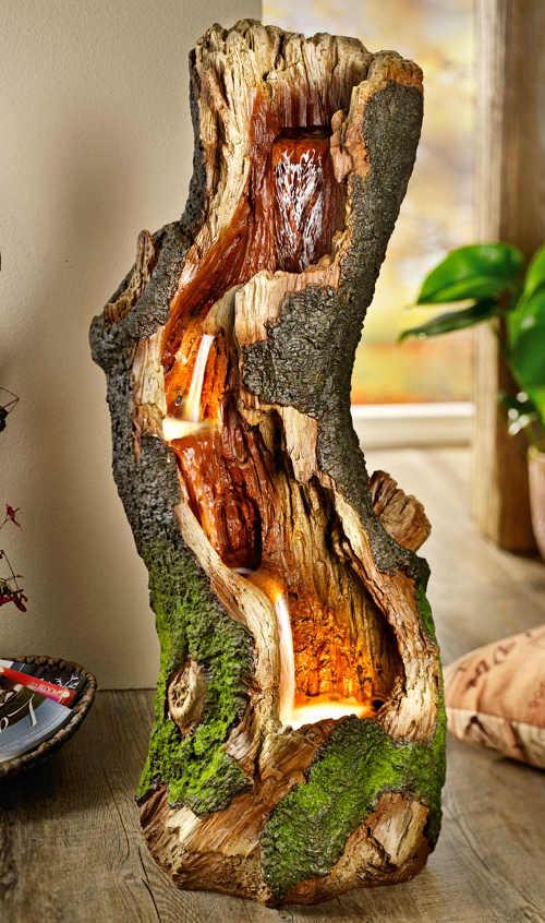 Svítící LED Fontána imitace dřeva