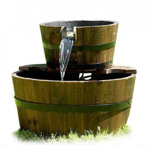 Zahradní kašna fontána dvě dřevěná vědra