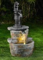 Kaskádová zahradní kašna s atrapou pumpy