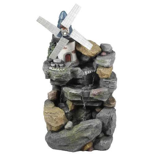 Zahradní fontána v designu kamene s mlýnkem