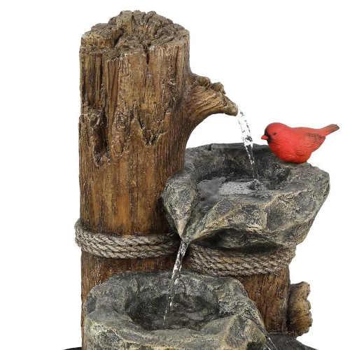fontána do zahrady v kombinaci dřevo umělý kámen